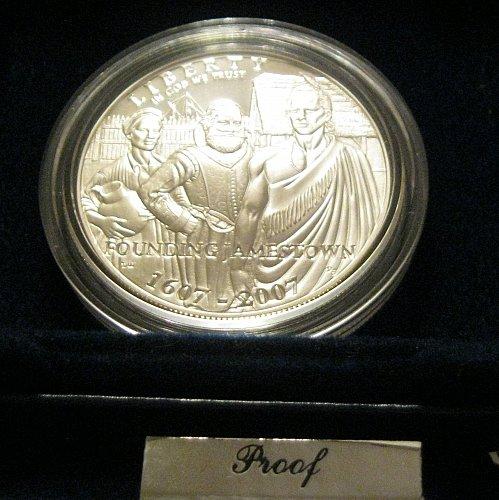 2007 P $1 Jamestown 400th Anniversary Commemorative Proof Silver Dollar
