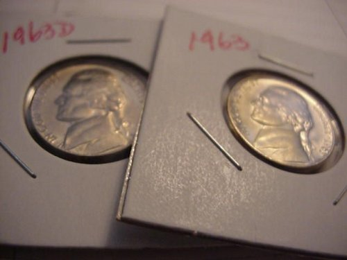 1963 and 1963D unc nickels