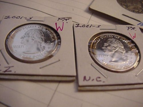 2-proof 2001 quarters states S  (RI) and (NC)