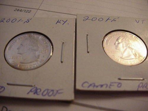 2-proof 2001S quarter  (ky) AND (VT)