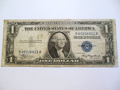 1935-A $1 Silver Certificate Bill with Blue Seal