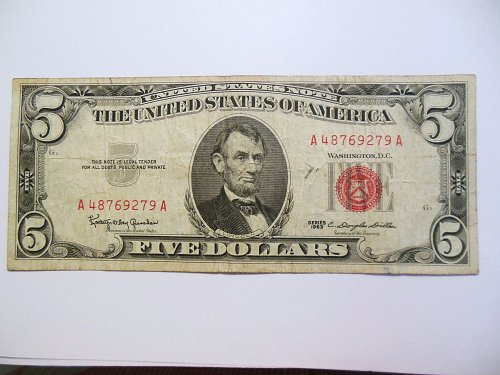 1963 $5 United States Note Bill with Red Seal