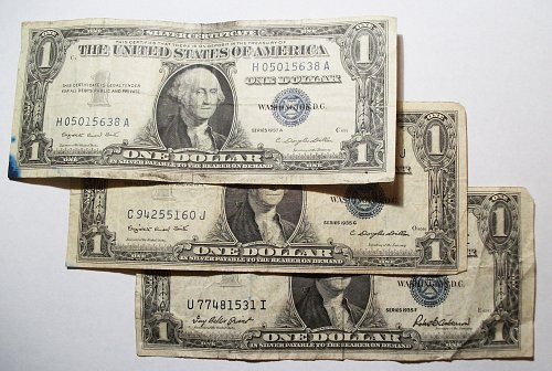 1934D $5 FRN, 1953A $2 US Note, 3 $1 Silver Certificates, 1988 Star note For Add