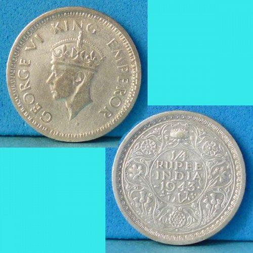 British India 1/4 Quarter Rupee 1943 B  km 547 silver