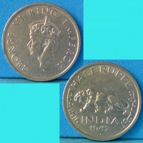 British India 1/2 Half Rupee 1947 B  km 553