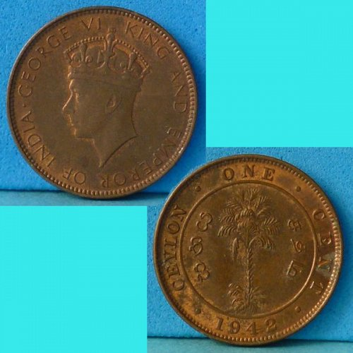 British Ceylon 1 Cent 1942 km 111 thick planchet