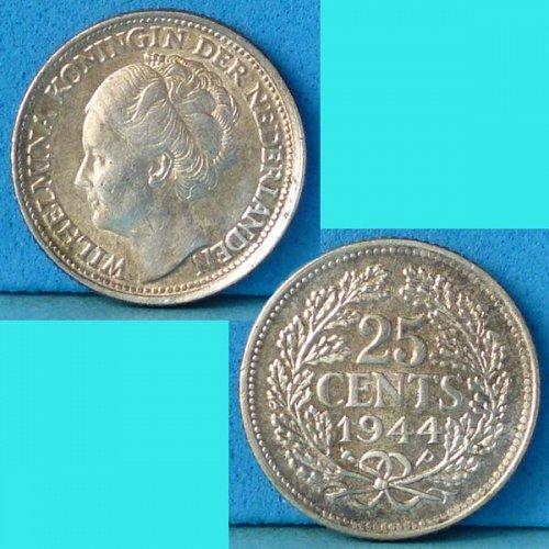 Netherlands 25 Cents 1944 km 164 silver