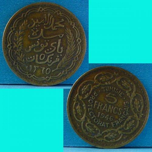 Tunisia Tunisie French Protectorate Francais 5 Franc 1946 AH1365 km 273