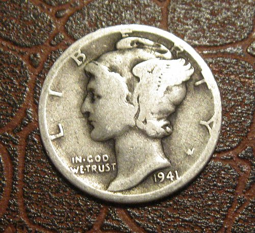1941-D MERCURY DIME, WINGED LIBERTY