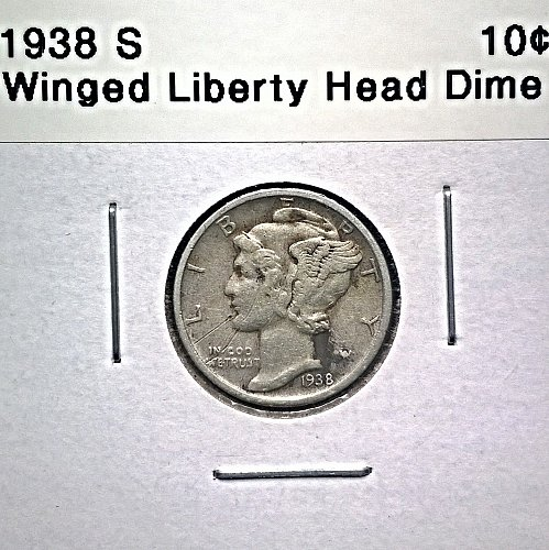 1938 S Winged Liberty Head Dime - Scratched