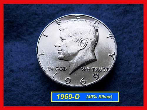 1969-D  Kennedy Half Dollar •• Uncirculated •• (40% Silver)  (#1527)