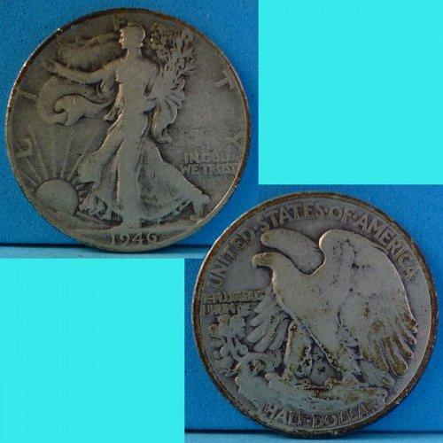 US USA United States of America Walking Liberty Half Dollar 1946 P km 142 silver