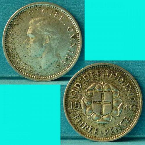 UK Great Britain 3 Pence 1940 km 848 Silver