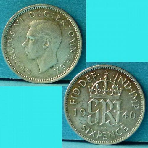 UK Great Britain 6 Pence 1940 km 852 Silver