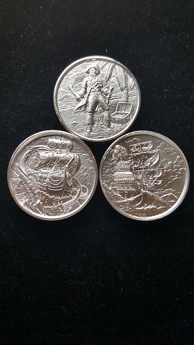 3 Provident/Elemental Metals 2 oz Ultra High Relief Coins Privateer, Kraken, Cap