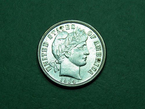 1914 D Barber Dime Brilliant Uncirculated Coin   h58
