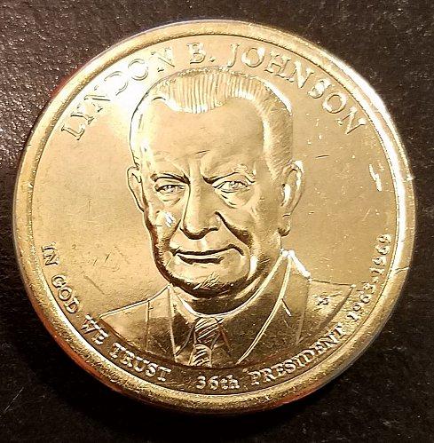 2015-D Lyndon Johnson Presidential Dollar - From US Mint Roll (6501)