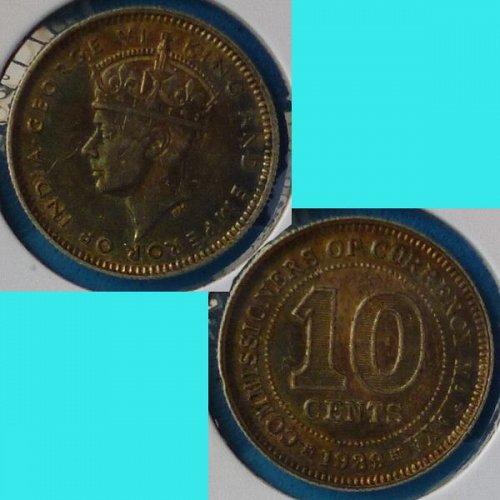 Malaya 10 Cents 1939 km 4 Silver Toned
