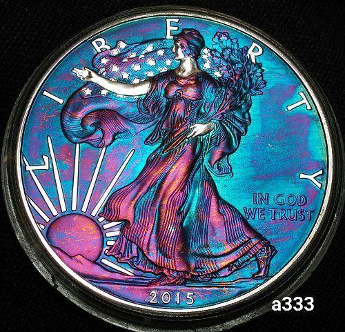 2015 Rainbow Toned Silver American Eagle 1 troy ounce silver Monster toned #a333