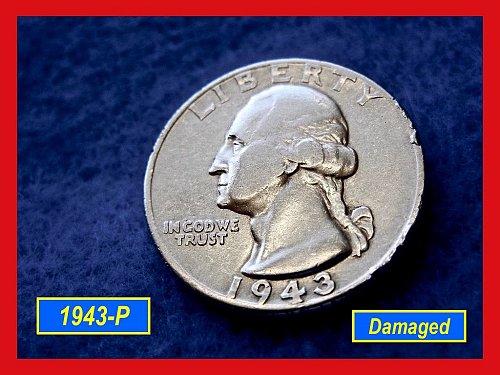 1943-P    Circulated Washington Quarter [Damaged] ••• (#2386)