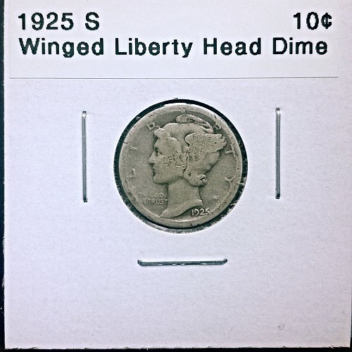 90% Silver. 1925 S Winged Liberty Head Dime