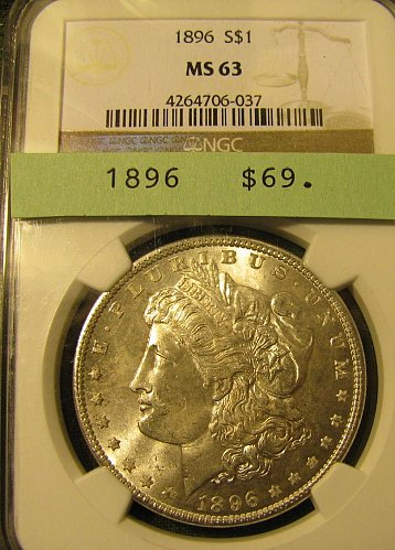 Certified 1896 Morgan DollarMS-63 Win 1st; Win 2nd $ only get 20% refund @Pay pa