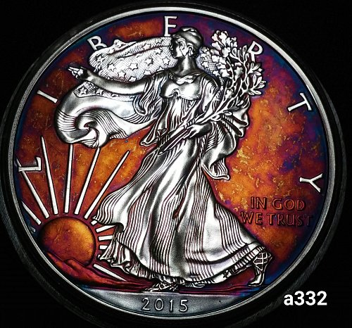2015 Rainbow Toned Silver American Eagle 1 troy ounce silver #a332