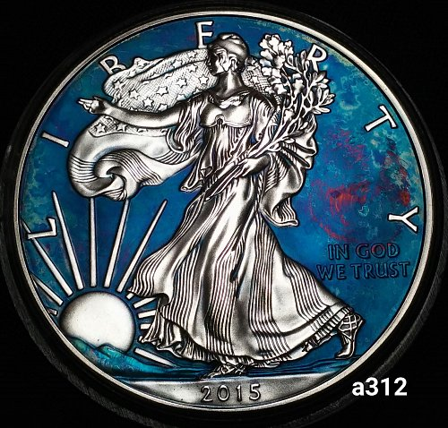 2015 Rainbow Toned Silver American Eagle 1 troy ounce silver #a312