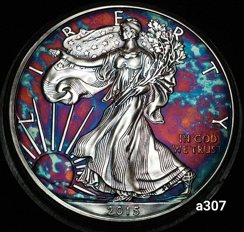 2015 Rainbow Toned Silver American Eagle 1 troy ounce silver