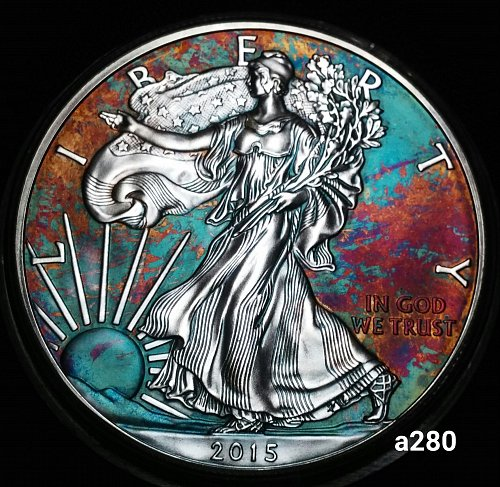 2015 Rainbow Toned Silver American Eagle 1 troy ounce silver #a280