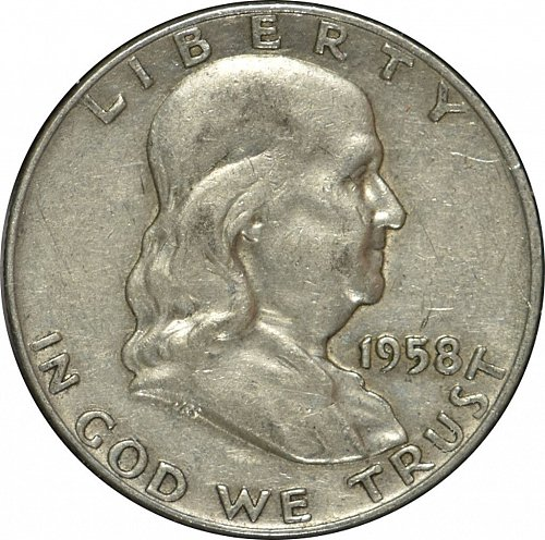 1958 D Franklin Half Dollar,  (Item 283)