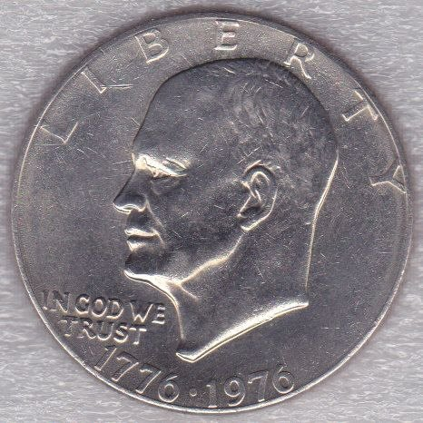 1976 P Eisenhower Dollar: Type 1 - Low Relief - Bold Lettering