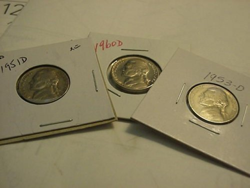 3-nice nickels  denver mints 1951,53,60