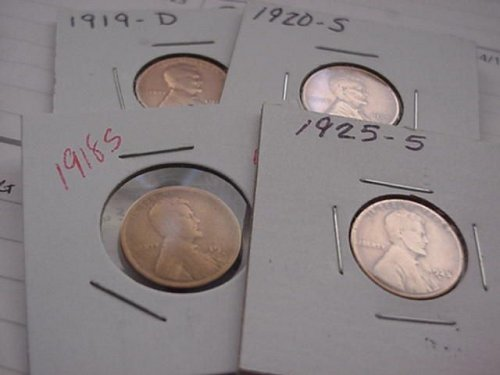 4-wheat pennys 1918s,1919d,1920s,1925s all have been cleaned