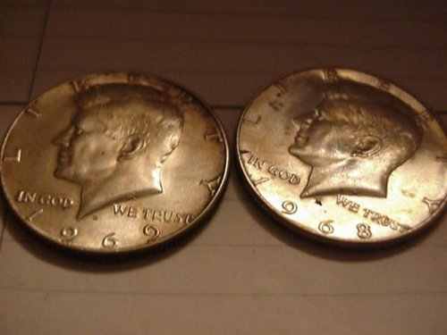 2-40% silver halfs 1968D and 1969D