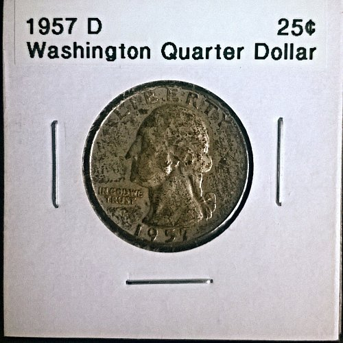 90% Silver. 1957 D Washington Quarter Dollar
