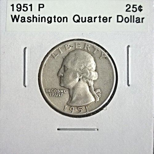 1951 P Washington Quarter Dollar