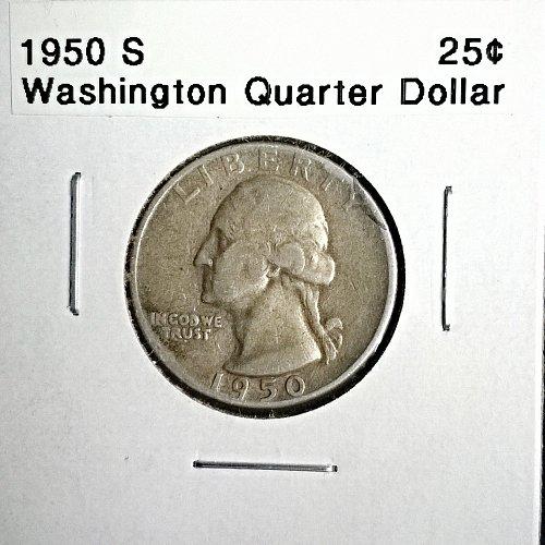 1950 S Washington Quarter Dollar