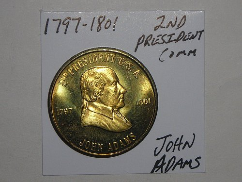 2 tokens/medals geo.washington 1st.pres.,john adams 2nd pres...