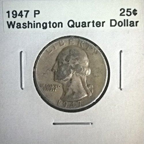 1947 P Washington Quarter Dollar