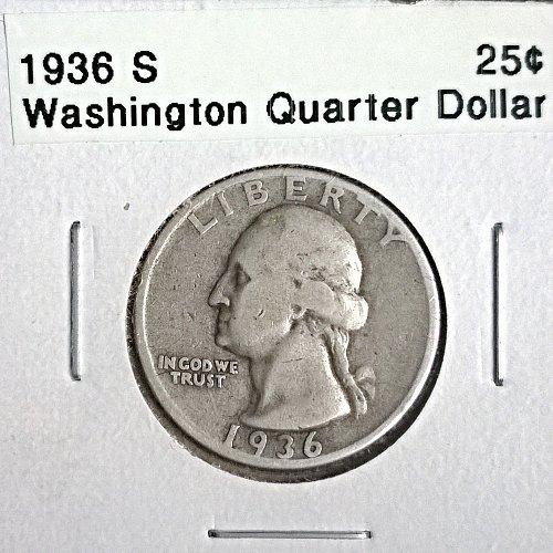 1936 S Washington Quarter Dollar