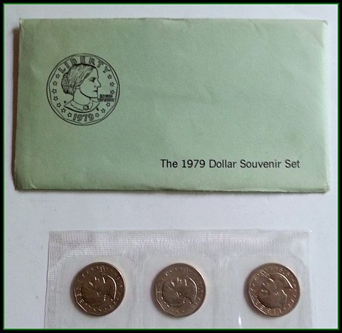 Susan B Anthony 1979 Dollar Souvenir Set: 3 Coins in Original Package