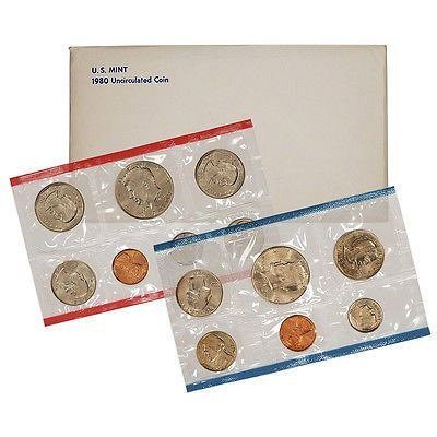 1980 US Mint Uncirculated 13 Coin Set. Includes (3) Susan B. Anthony's.