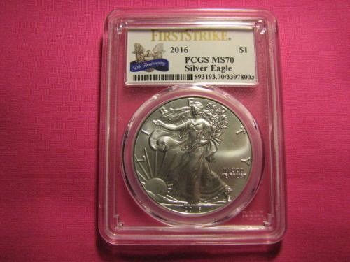 2016 1$ PCGS Silver Eagle MS70 First Strike 30th Anniversary Label