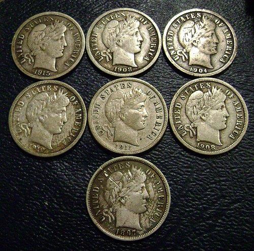 7 Fine Barber Dimes 1897 1904 1908 1908-D 1910-D 1911-D 1915 Free Shipping