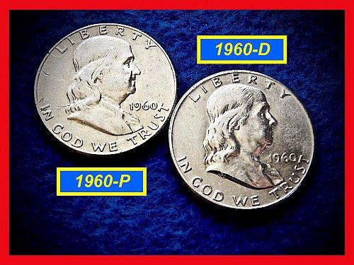 1960-P & 1960-D  Franklin Half Dollars ––– Circulated    (#1482)