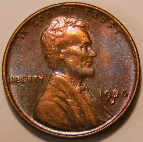 1935-S Lincoln Cent Blue Brown AU