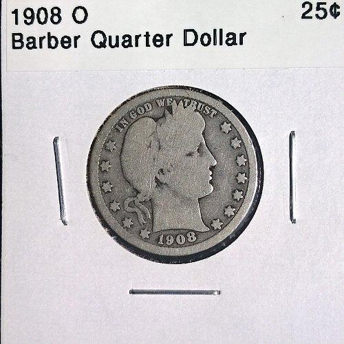 1908 O Barber Quarter Dollar