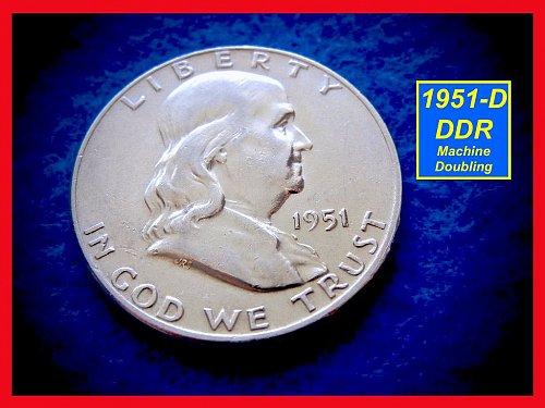"19551-D ""XF-45""  Franklin Half Dollar •• Reverse Maching Doubling     (#1484"