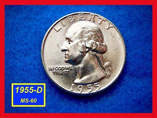 1955-D UNCIRCULATED Silver Washington Quarter   (#2415)